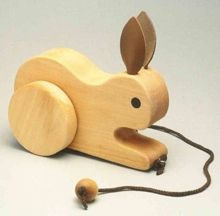 Handcrafted Childrens Hopping Rabbit Pull ($24)