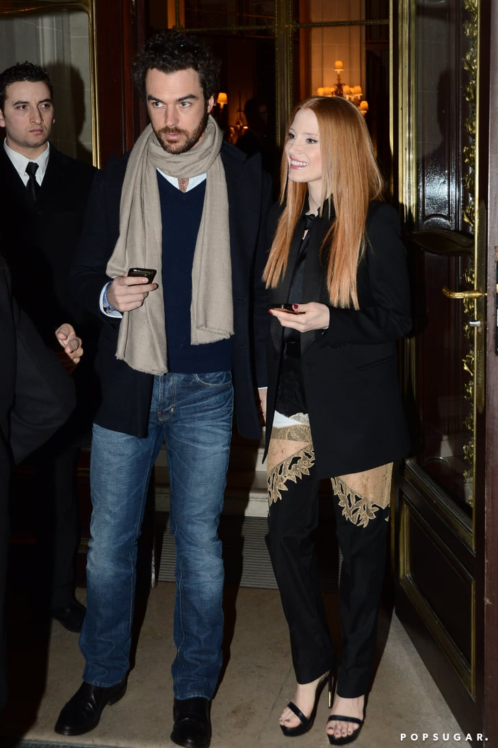 Jessica Chastain and Gian Luca Passi de Preposulo walked together in Paris.