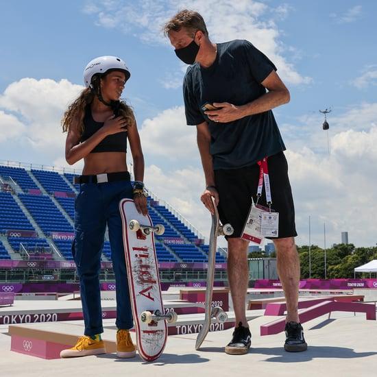 Skateboarders Rayssa Leal and Tony Hawk Meet Up at Olympics