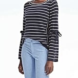 Banana Republic Stripe Fluted Tie-Sleeve Pullover