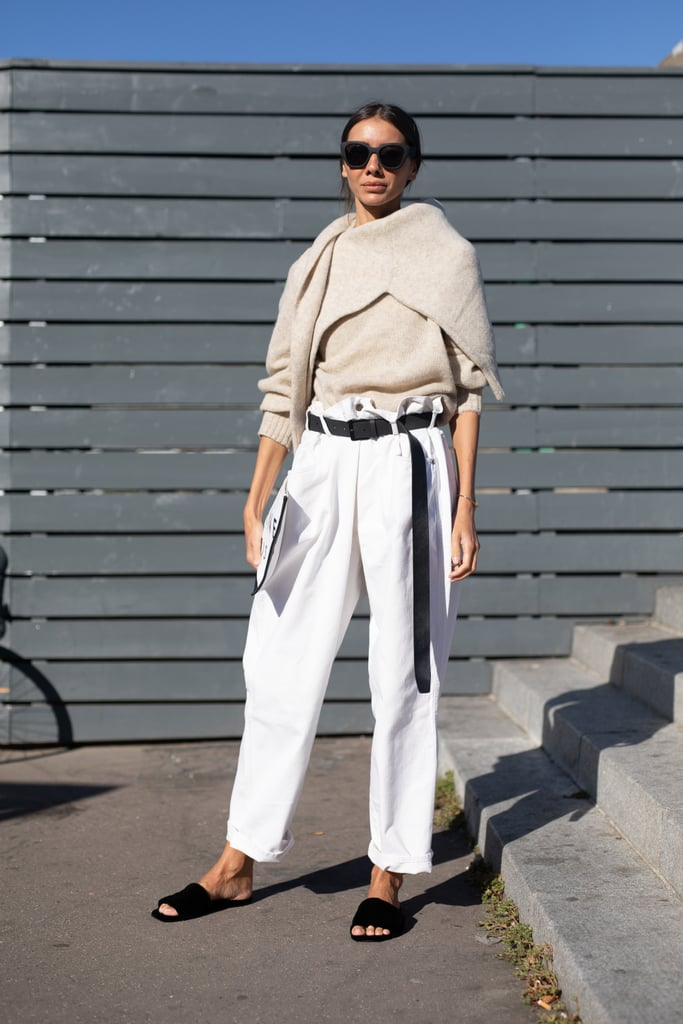 Style Paper Bag Denim With an Oatmeal Sweater, Dark Sunglasses, and Slides