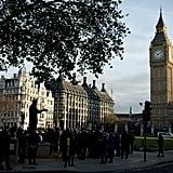 A Nelson Mandela statue in London drew crowds.