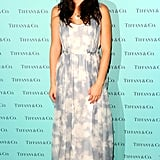 Leighton wearing a similar blue and white gown by Carven to a Tiffany & Co. event in 2011.