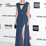 Ziyi Zhang chose a glamorous, yet soft Elie Saab with a hint of sexy via a cutout at the neckline and a leg-baring slit.