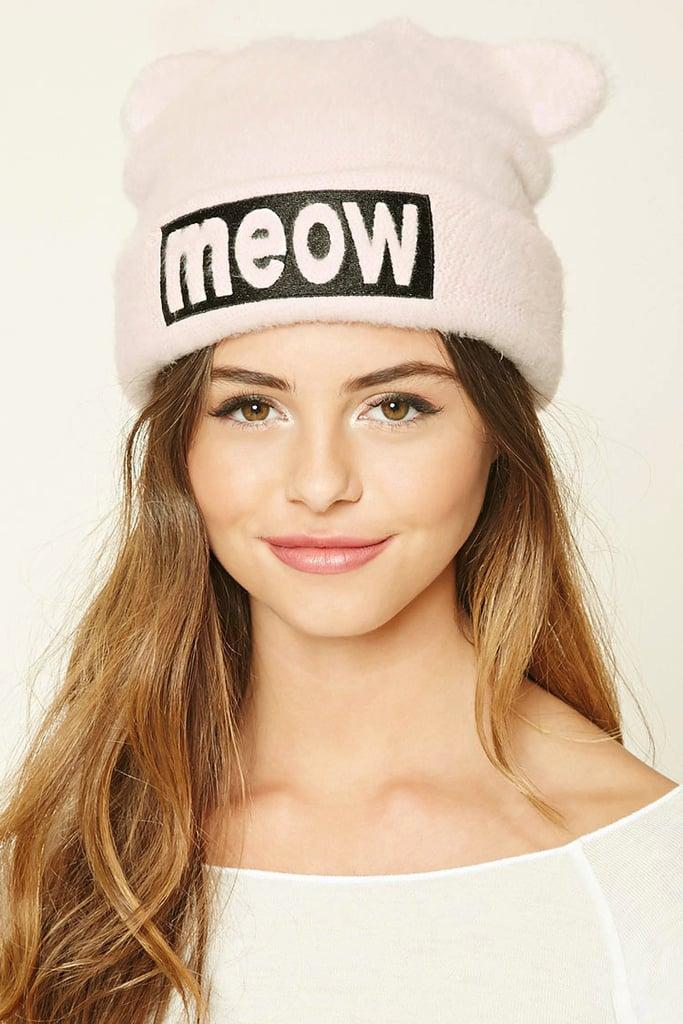 Meow Fuzzy Knit Beanie ($8)