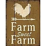 Farm Sweet Farm Retro Vintage Wood Plaque