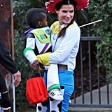 Sandra Bullock played dress up with her son Louis as Toy Story's Cowgirl Jessie, while her little man went as Buzz Lightyear.