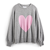 Gray Heart Balloon-Sleeve Sweater
