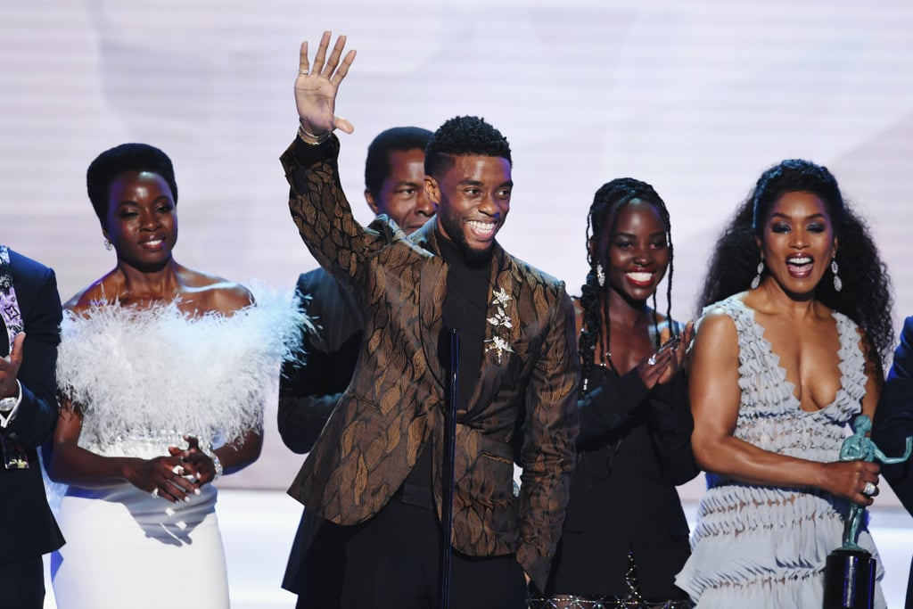 """After much conversation about its award season potential, Black Panther was awarded the top honor at the 2019 Screen Actors Guild Awards. Chadwick Boseman, who famously portrayed the titular superhero, delivered a rousing speech while joined on stage by his esteemed costars. In it, the actor addressed whether Black Panther has changed the film industry. After that triumphant win, it's undeniable.  """"To be young, gifted, and black,"""" said Boseman. """"We know what it's like to be told there's not a screen for you to be featured on. We know what it's like to be the tail and not the head. We know what it's like to be beneath and not above — and that is what we went to work with every day."""" Coming back to the notion of Black Panther's lasting impact, Boseman said, """"I know that you can't have a Black Panther now without a '2' on it."""" See the powerful moment ahead.      Related:                                                                                                           Chadwick Boseman and His Girlfriend, Taylor Simone Ledward, Are Fit to Rule the SAG Awards"""