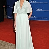 Melania looked elegant, but definitely popped in this mint gown at the 2015 White House Correspondents' Dinner.