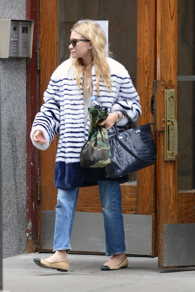 Ashley Olsen walked out of a shop in SoHo.