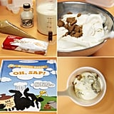 All Ben & Jerry's flavors begin with either a chocolate or sweet cream base —a mixture of heavy cream, condensed skim milk, and liquid cane sugar. Unique bases are made by mixing in extracts or purees and adding a variety of chunks, swirls, and/or core fillings.