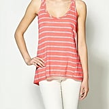 An asymmetrical hem and a racerback cut make this striped tank stand out.  Hive and Honey Fine Stripe Pocket Tank ($29)