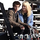 Andrew Garfield Sneaks a Kiss From Emma Stone For Spider-Man