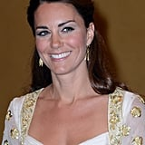 Kate Middleton wore gold earrings.
