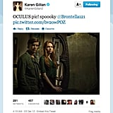 Doctor Who actress Karen Gillan shares a promo pic from her upcoming movie Oculus, a supernatural suspense film slated for 2014.