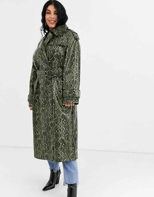 ASOS Design Curve Snake Trench Coat With Statement Belt
