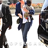Charlize Theron arrived at the airport in LA with son Jackson.