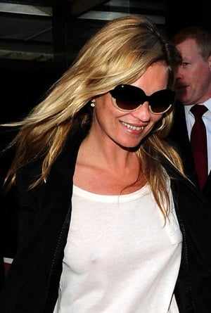 Kate Moss in London in Cropped Leather Pants, White Tee, and Two-Tone Sunglasses