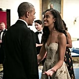 "During Barack's opening remarks at the state dinner, he couldn't help but gush about his girls. ""When I was first elected to this office, Malia was just 10 and Sasha was 7. And they grow up too fast,"" he said. ""Now Malia is going off to college . . . and I'm starting to choke up."""