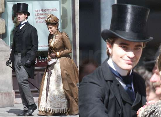Photos of Robert Pattinson Filming Bel Ami in Budapest in Top Hat New Pictures With Kristin Scott Thomas