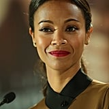 At the Star Trek Into Darkness press conference in Berlin, we got just a peek at Saldana's olive-and-black ensemble.
