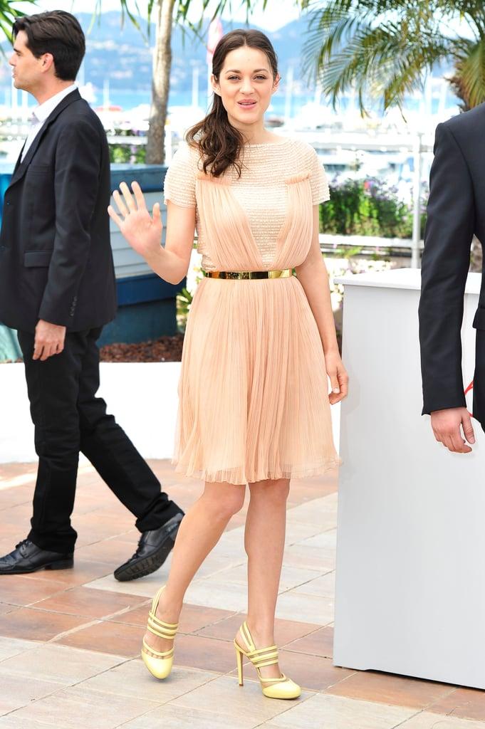 Marion Cotillard waved at the Cannes Film Festival.
