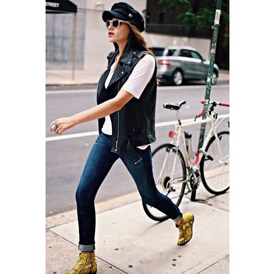 Investing In Street Appeal With Style: A Breton Cap Contrasts With The Biker Appeal Of A