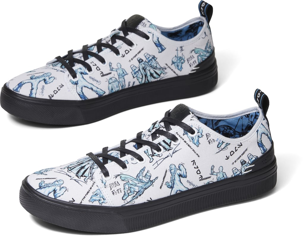 So I don't own a lightsaber, and I've never had the pleasure of hopping a ride on the Millennium Falcon with Alden Ehrenreich in the pilot's seat, but these Star-Wars-inspired TOMS might just be the answer to my intergalactic dreams. In partnership with Disney's Star Wars franchise, TOMS is releasing a collection of space-themed canvas shoes for kids and adults — so now the whole family can match during your next flight from Tattooine to Alderaan, or your next Disneyland trip (whichever comes first). The limited-edition collection will launch in stores and online on July 1, and it will include slip-ons and sneakers that feature artwork inspired by the original Star Wars trilogy in sizes for men, women, and kids. The collection, ranging in price from $40 to $95, also includes the brand's Classic Alpargatas shoes featuring custom, storyboard-style prints. So cool! Take a sneak peek at the full space-inspired collection ahead.       Related:                                                                                                           Vans Is Dropping a Harry Potter Sneaker Collection, and Holy Hagrid, We're Siriusly Psyched