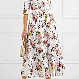 Erdem Kasia Floral Print Cotton Poplin Midi Dress