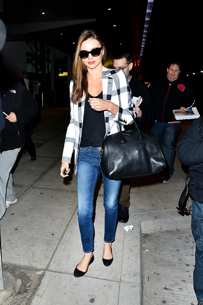 Plaid, boring? Not for Miranda Kerr.