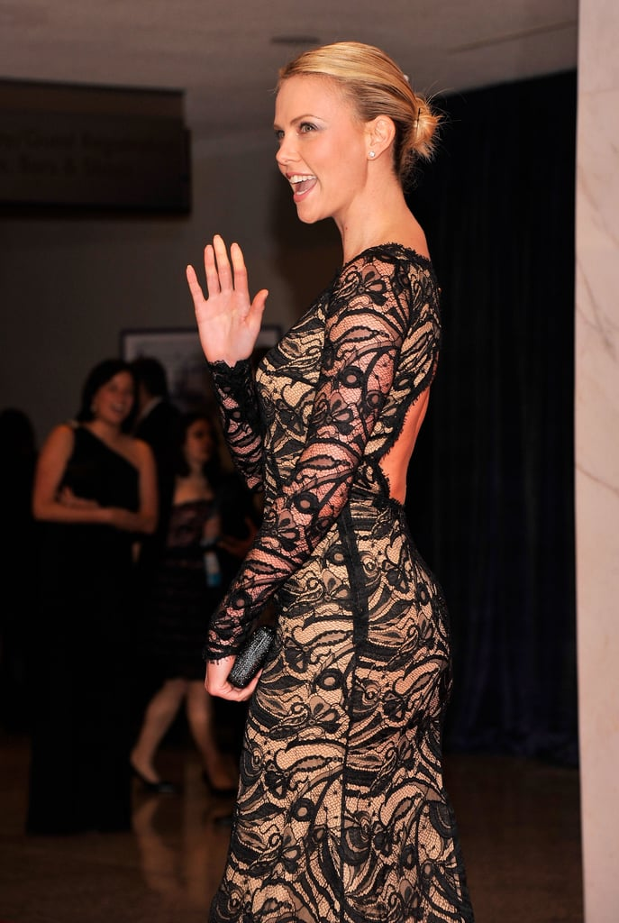 Charlize Theron wore a stunning lace dress.