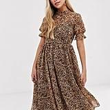 Y.A.S Leopard-Print Puff-Sleeve Midi Dress