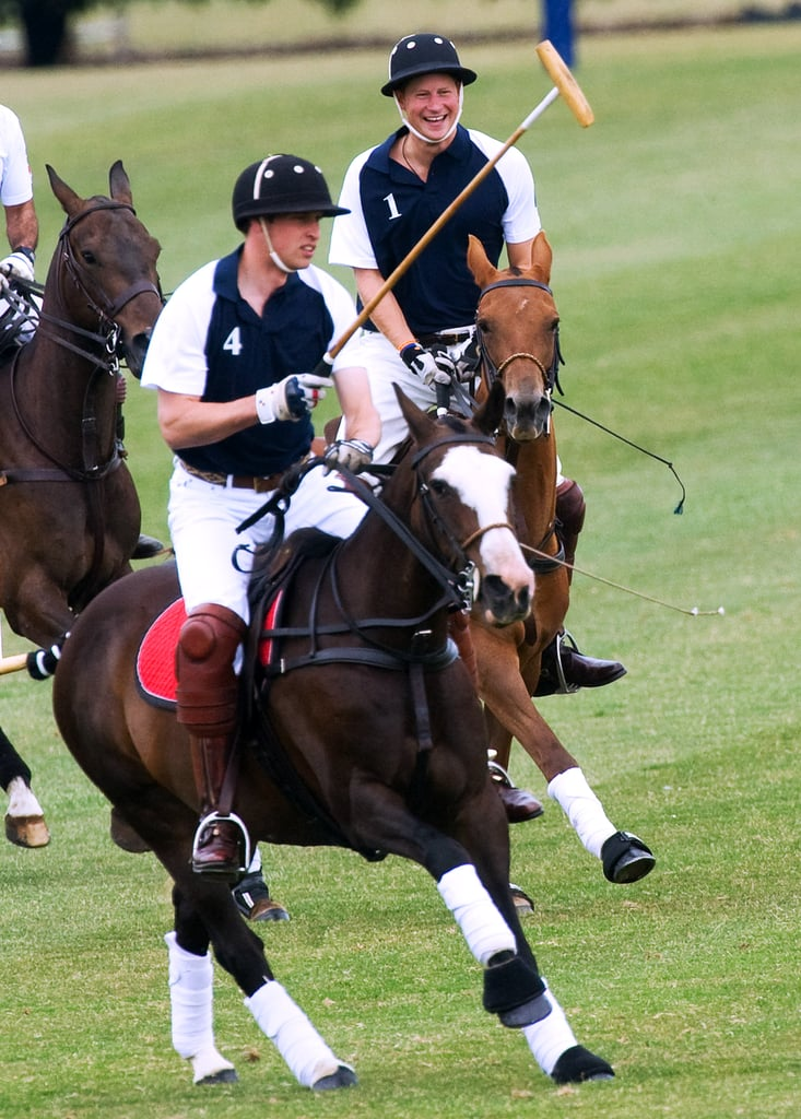 Harry beamed while competing against his older brother in The Chakravarty Cup Polo Match in July 2010.