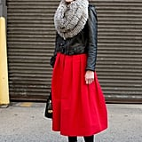 Mary-Kate Steinmiller showed off one easy — and very cool — way to make a high-impact skirt daytime (and Winter) appropriate.
