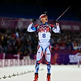 Ondrej Moravec of the Czech Republic cheered when he approached the finish line and won the silver medal for the men's 12.5-kilometer biathlon pursuit event.