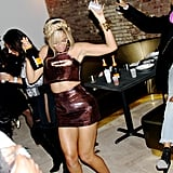 Beyoncé danced and drank Champagne at her sister Solange's MSQFT x SaintHeron New York Fashion Week bash in February 2014.