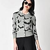 Retro Style Grey & Black Flying Bats Long Sleeve Knit Cardigan ($58)