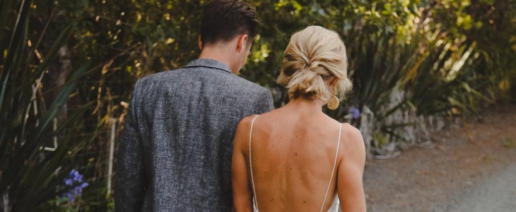 Real Bride Wearing a White Slip Wedding Dress