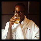 Lupita Nyong'o had a staycation in a custom monogrammed Empire Hotel robe in NYC. Source: Instagram user lupitanyongo