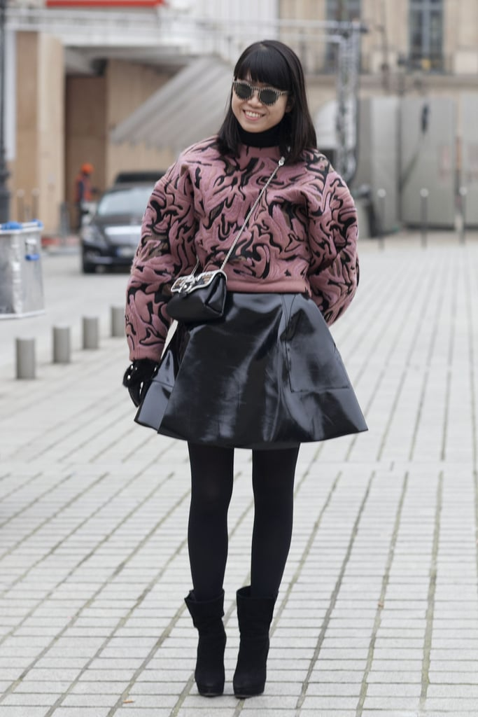 A full leather skirt was all girlie, but a brocade sweatshirt countered with a trendy update.