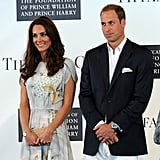 Prince William and Kate Middleton looked on at the crowd.