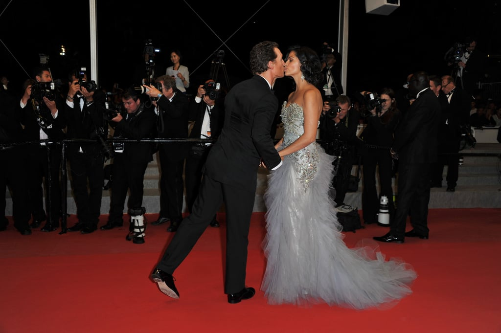 Matthew McConaughey and Camila Alves stopped for a kiss at the Cannes Film Festival premiere of Mud in May 2012.