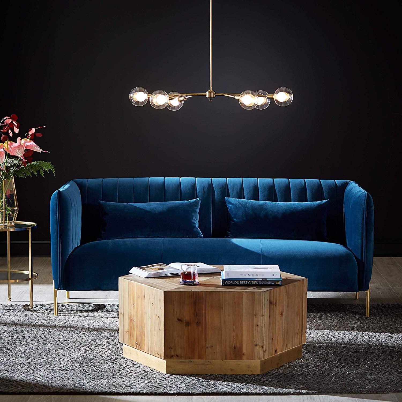 Rivet Frederick Velvet Channel Tufted Midcentury Modern Sofa