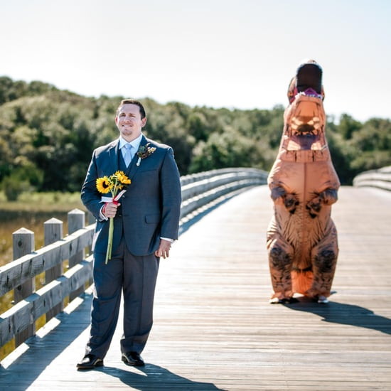 Bride Dresses in T. Rex Costume For First Look