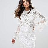Lioness Allover Lace Dress With Fluted Sleeve Detail