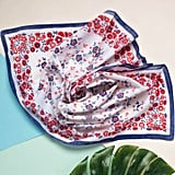 Iamia Vintage Blue and Red Flower Scarf