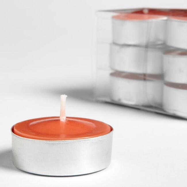 Mexican Pumpkin Tealight Candles Twelve-Pack
