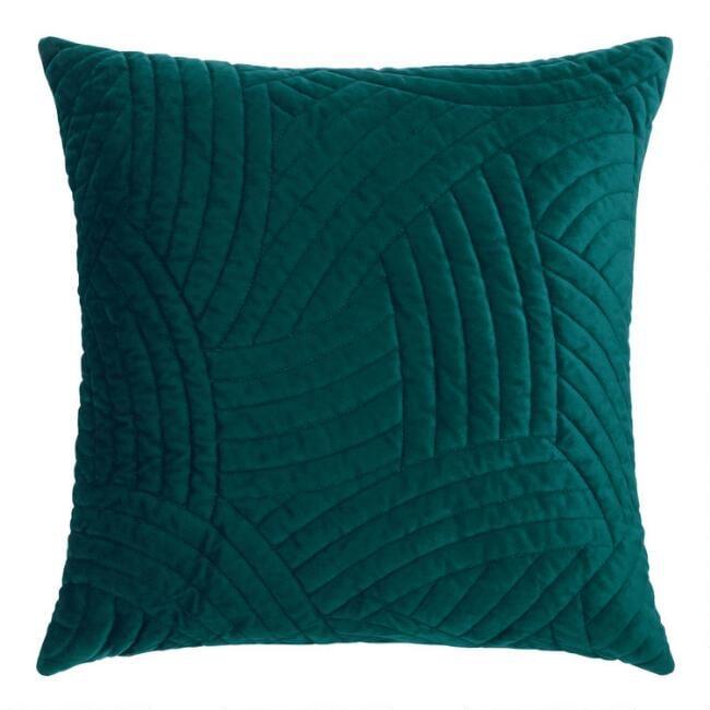 Dark Teal Quilted Velvet Throw Pillow