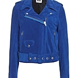 Remember that gorgeous blue suede jacket Hanneli Mustaparta wore during NYFW? Well, this is it.  Acne Mape Leather Biker Jacket ($1,555)